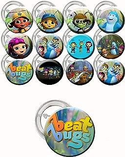DJzDealz Beat Bugs Buttons Children's Party Favors Supplies Decorations Collectible Metal Pinback Buttons Pins, Large 2.25