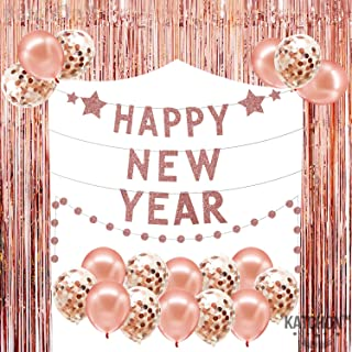 Rose Gold New Years Eve Backdrop Banner - Rose Gold Fringe Foil Tinsel Backdrop| Confetti Balloons | Happy New Year Banner Garland Sign |New Years Eve Party Supplies 2020 | Happy New Year Decorations