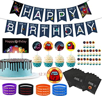 Cupcake Toppers for Party Decorations Happy Birthday Banner Among Us Party Supplies Cake Topper Game Among Sus Crewman Birthday Party Supply Set for Kids with 24pcs Balloons