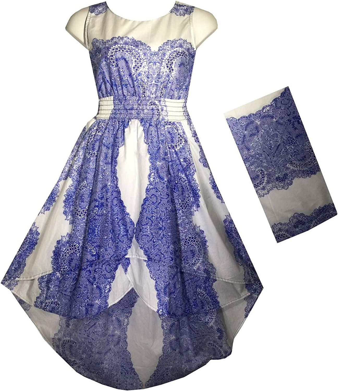Decoraapparel Women's Stylish Cotton Wax Long Dress, Short Front Sleeveless Dress