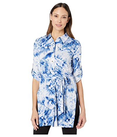 Calvin Klein Printed Roll Sleeve Tunic (Soft White Combo) Women