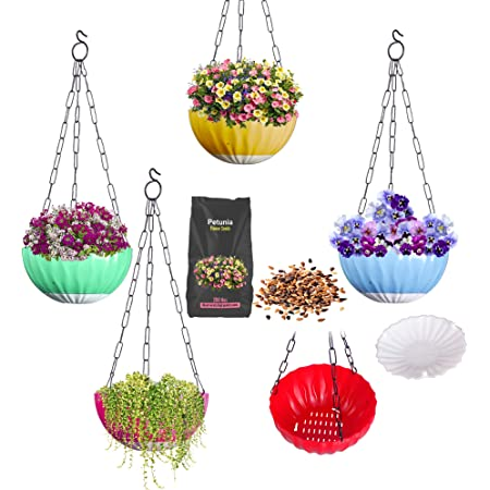 DOAP PP Hanging Pot 8.5inch- Big & 2pck Flower Seeds, Self Watering Planter, Multicolor, 5 Piece