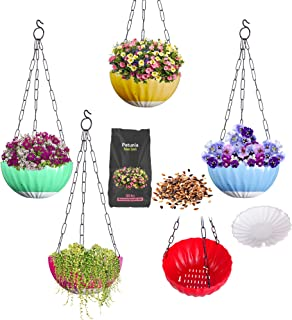 DOAP Hanging pots for Balcony/Outdoor/Indoor. Self Watering Hanging planters/Basket (Size:Medium 5pcs) Suitable for Flower...