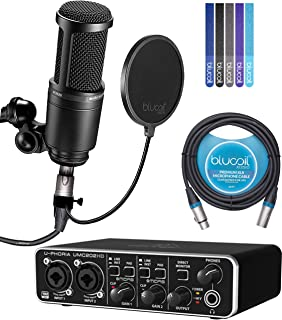 Audio-Technica AT2020 Cardioid Condenser Microphone Bundle with Behringer U-PHORIA UMC202HD USB Audio Interface, Blucoil 10-FT Balanced XLR Cable, Pop Filter Windscreen, and 5x Cable Ties