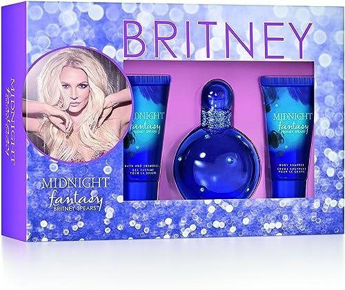 Britney Spears Midnight Fantasy For Women - 3 Pc Gift Set, 3.3oz EDP Spray, 1.7oz Bath & Shower Gel, 1.7oz Body Souffle