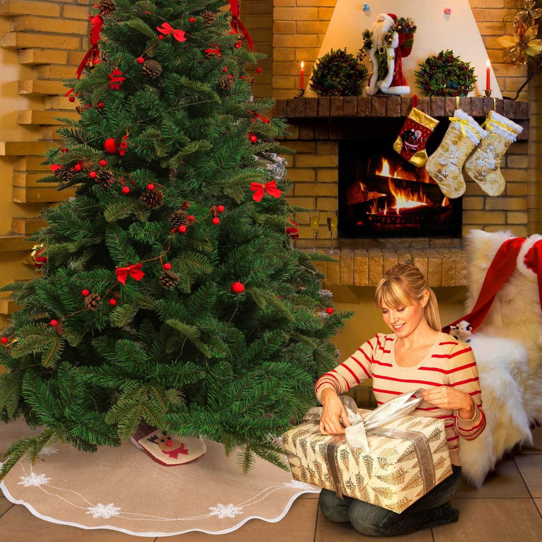 30 inch Burlap Snowflakes Christmas Tree Skirt Hessian Tree Cover for Xmas Year Holiday Decorations MACTING Tree Skirt