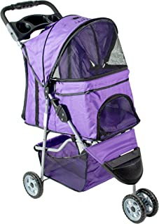 VIVO Three Wheel Pet Stroller, for Cat, Dog and More, Fordable Carrier Strolling Cart, Multiple Colors
