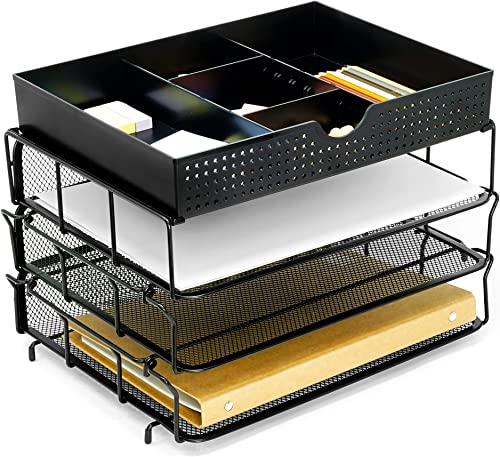 discount CAXXA 3 Trays Stackable Mesh Letter Tray, Desk File Organizer, Desktop Paper wholesale online Tray Holder with Drawer, Black outlet sale