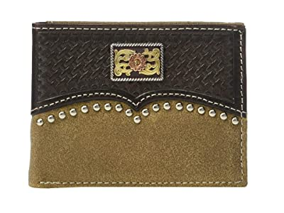 Ariat Overlay w/ Tri-Tone Concho Bifold Wallet w/ Removable Passcase (Brown) Wallet Handbags