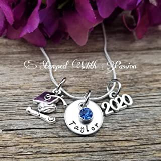 Graduation Necklace, Personalized Graduation Gift, Class of 2020, Hand Stamped Graduation Jewelry, High School Graduation, Class of 2021, Class of 2022