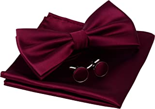 Mens Solid Color Double Fold Pre-tied Bow Tie and Pocket Square Cufflink Set with Gift Box
