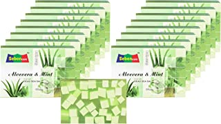 SebonCare Aloe Vera Soap Enrich with Dead Sea Salt, Aloe vera and Mint Extract, Glycerin, Vegetable Oil (SLS free) 100gm - Pack Of 16
