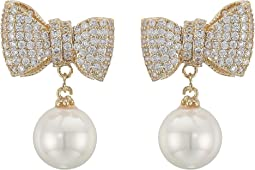 Bow with Pearl Drop Earrings