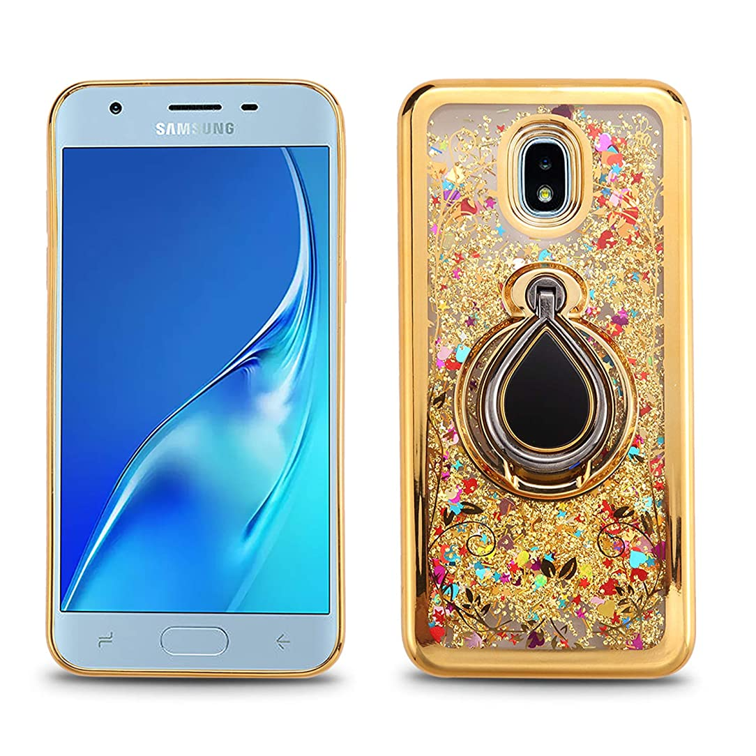 Hub Special Phone Case Compatible with Samsung Galaxy J3 2018 With Ring Liquid, J337, J3 Acheieve, J3 Star, Finger Ring Stand Holder Crystal Clear Floating Luxury Glitter