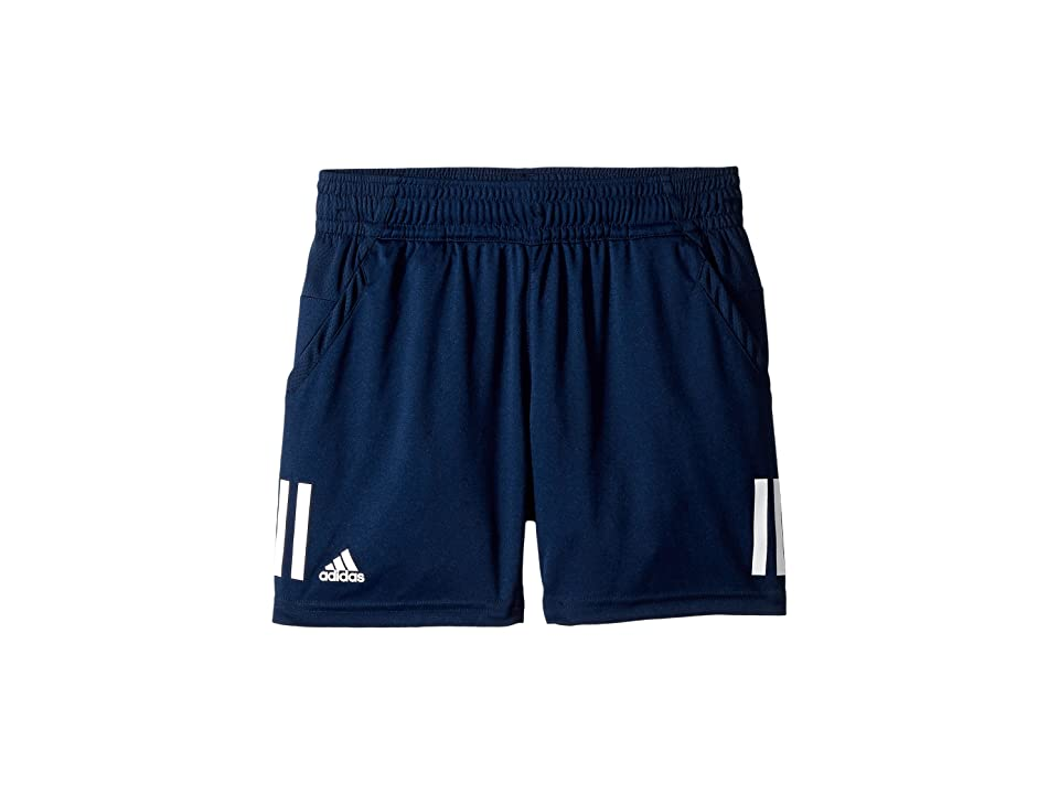 Image of adidas Kids 3-Stripes Club Shorts (Little Kids/Big Kids) (Collegiate Navy) Boy's Shorts
