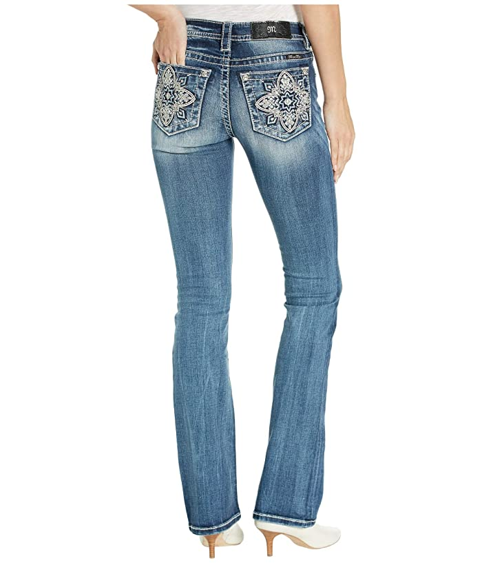 Miss Me Moroccan Mid-Rise Bootcut Jeans in Dark Blue