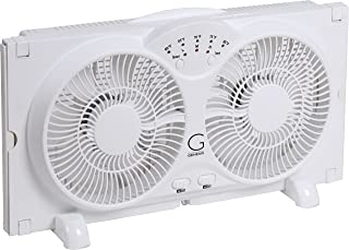 Genesis Twin Window Fan with 9 Inch Blades, High Velocity Reversible AirFlow Fan, LED..