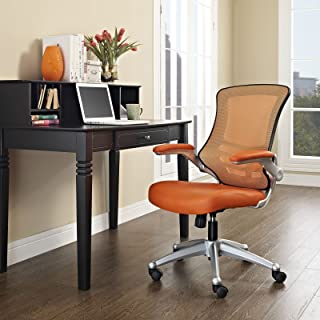 Modway Attainment Mesh Ergonomic Computer Desk Office Chair With Flip-Up Arms In Orange