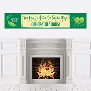 Big Dot of Happiness Double the Fun - Twins Two Peas in a Pod - Baby Shower Decorations Party Banner