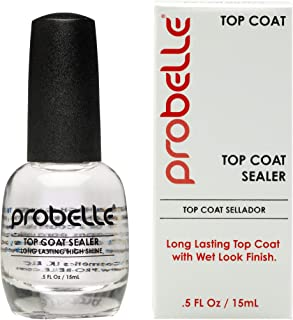 Probelle Top Coat Sealer - Ultra High Gloss and thick finishing top coat for long lasting manicure, 0.5 fl oz/ 15 mL