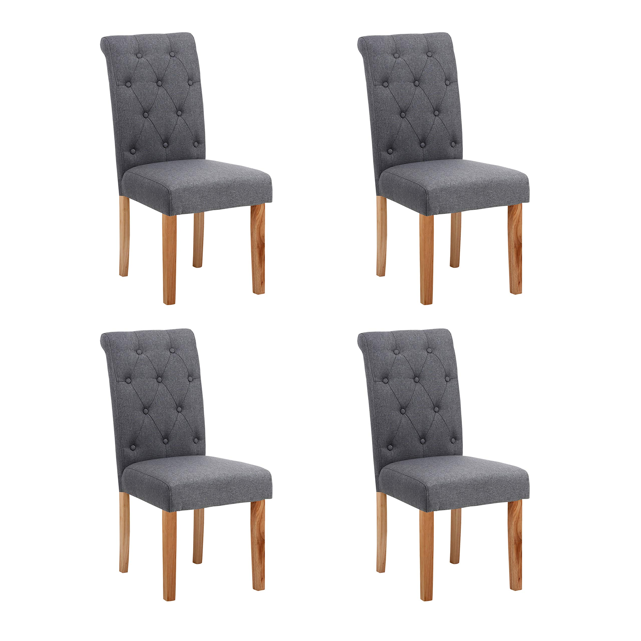 Neo 4x Fabric Button High Back Roll Top Seat Dining Room Chairs Set Wooden Oak Legs Dark Grey Buy Online In Isle Of Man At Isleofman Desertcart Com Productid 162318993
