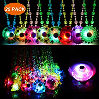 Mikulala Birthday Party Favors for Kids Prizes Box Toys for Classroom 25 Pack Glow in The Dark Party Supplies Stress Relief Anxiety LED Fidget Light Up Necklaces Toys Bulk Boys Girls