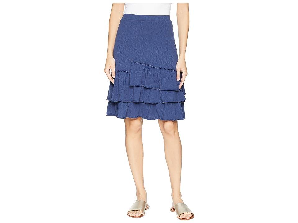 Mod-o-doc Slub Jersey Tiered Asymmetrical Ruffle Skirt (New Navy) Women