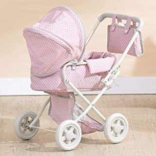 Olivia's Little World - Polka Dots Princess Baby Doll Deluxe Stroller - My First Baby Doll Foldable Stroller with Easy Rem...