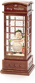 Konstsmide LED Snow Globe Snowman in Telephone Box, Filled Water Spinner/Indoor/5 Hour Timer/Battery : 3xC 1.5V (excl.)/Ch...