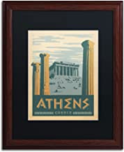 Athens, Greece Black Matte Archival Paper Artwork by Anderson Design Group, 16 by 20-Inch, Wood Frame