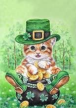 Toland Home Garden Clover Kitty 12.5 x 18 Inch Decorative Cute Shamrock Tabby Leprechaun Cat St Patrick's Day Garden Flag