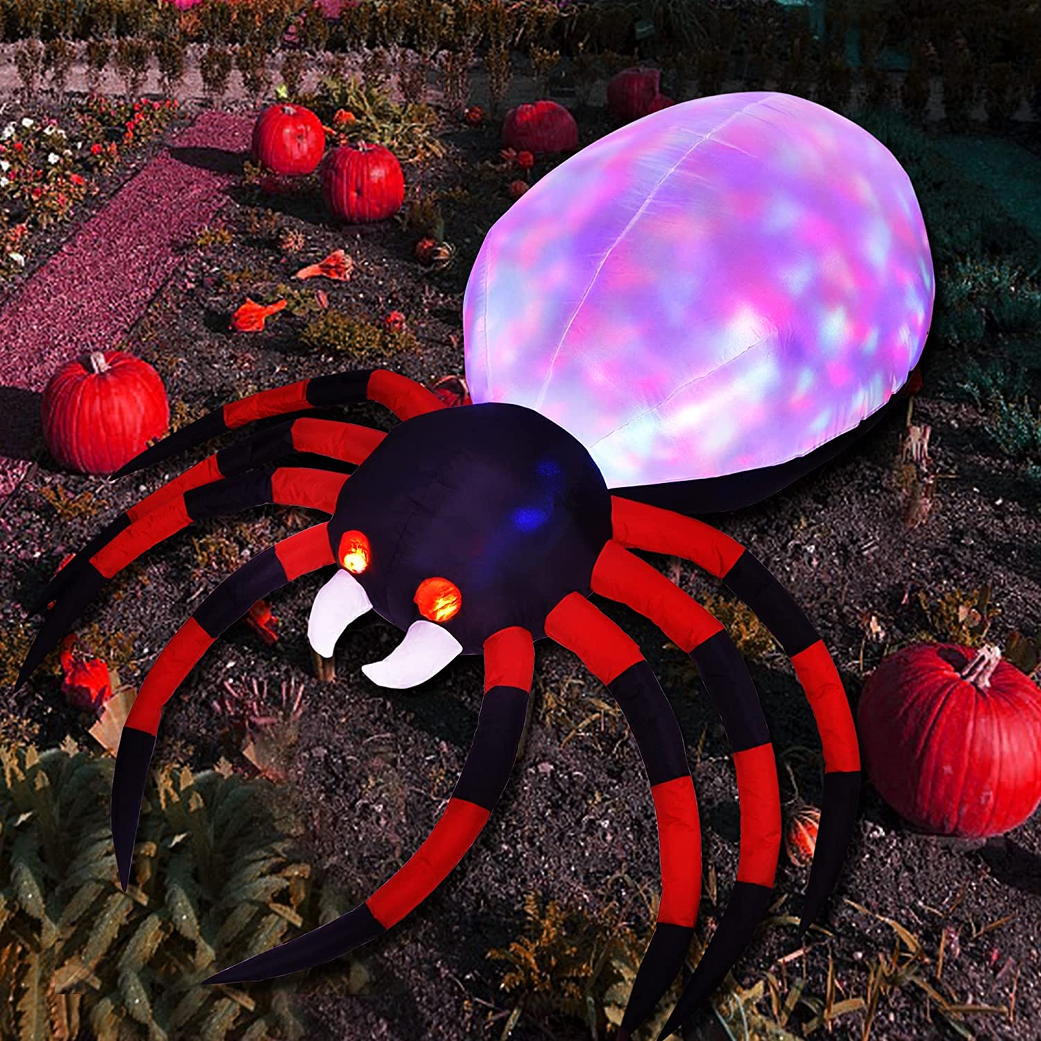 Popular standard ATDAWN 6FT Halloween Inflatable Spider New products world's highest quality popular with Magic Up Light Blow