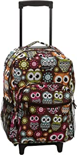 17 Inch Rolling Backpack, Owl, One Size