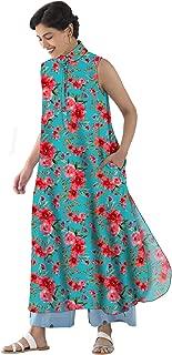 RADANYA Floral Printed Sleeveless Party Wear Long Tops Kurta Kurti for Womens