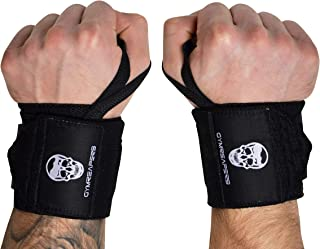 Gymreapers Weightlifting Wrist Wraps (Competition Grade) 18 Inch Professional Quality Wrist Support with Heavy Duty Thumb Loop - Strong Wrap for Powerlifting, Strength Training, Bodybuilding