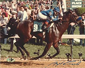 ANGEL CORDERO JR. on 1985 KENTUCKY DERBY WINNER - SPEND A BUCK (MAB) - Signed 10x8 Color Photo - Autographed Horse Racing Photos