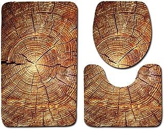 zitan 3 Piece Wood Board Pattern Bathroom Rug Set, Washable Carpet Bath Mat Contour Rug Toilet Lid Seat Cover, Water Absorption, Slip Resistance