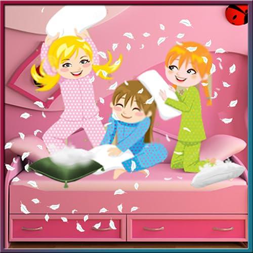 pj partido almohada - Niños de diversión con los amigos de pijama