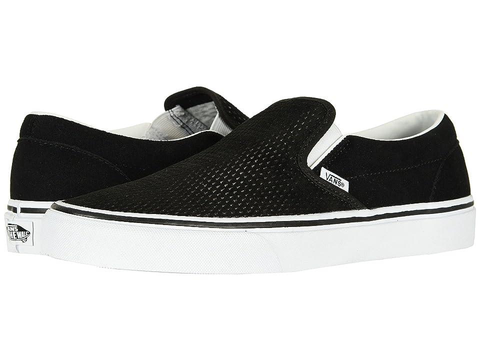 Vans Classic Slip-Ontm ((Embossed Suede) Black/True White) Skate Shoes