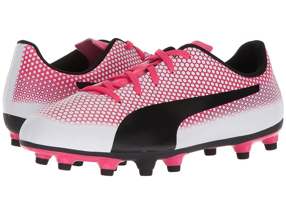 Puma Kids Spirit FG Soccer (Little Kid/Big Kid) (Puma White/Puma Black/Paradise Pink) Kids Shoes