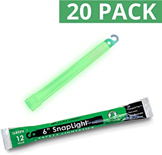 Cyalume SnapLight Green Glow Sticks – 6 Inch Industrial Grade, High Intensity Light Sticks with 12 Hour Duration (Pack of 20)
