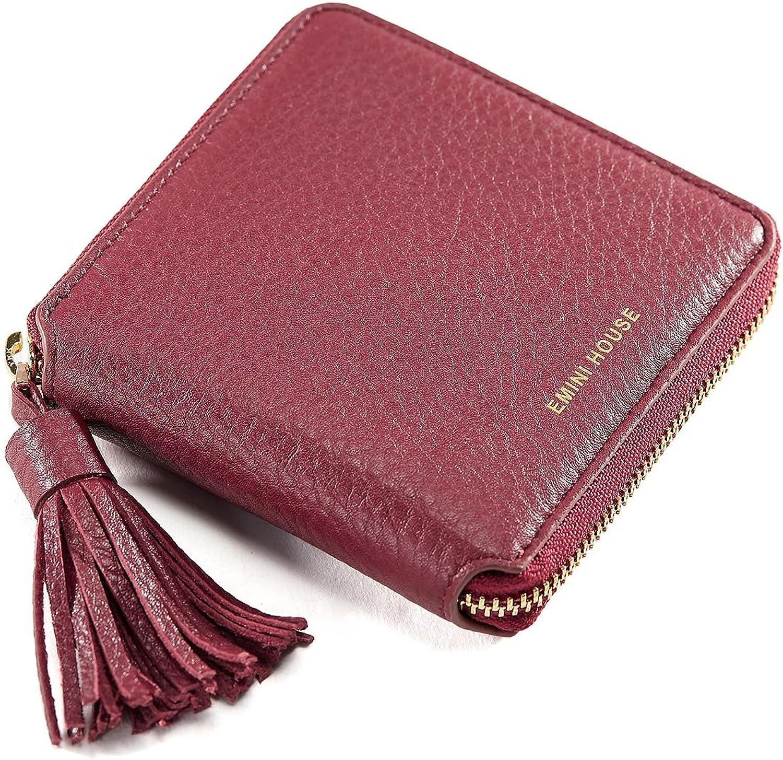 EMINI HOUSE Women's Genuine Leather Tassel Short Wallet
