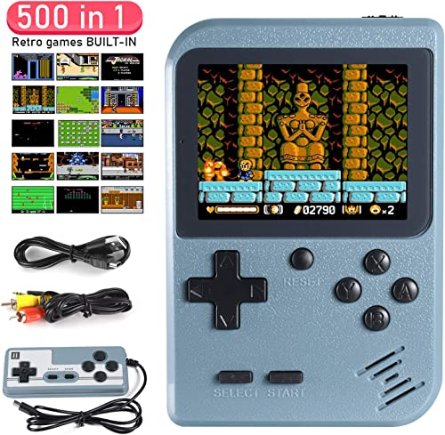 Imponigic Handheld Game Console,Retro Game Console for Kids and Adult with 500 Classic Handheld Games, Supporting 2 P...