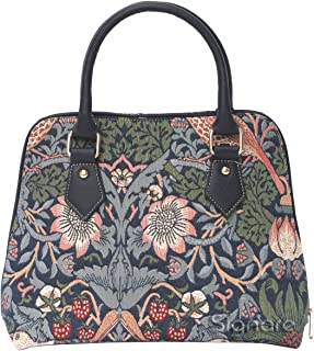 William Morris Strawberry Thief Tapestry Top Handle Handbag Shoulder Bag by Signare