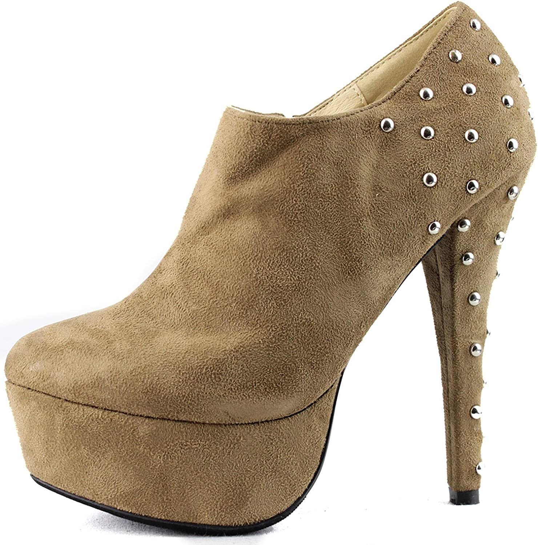 Women's Stilettos Round Toe Studs High Heel Extreme Platform Booties Fashion shoes