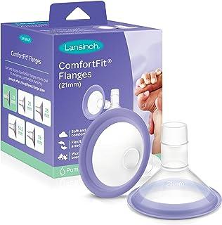Lansinoh ComfortFit Breast Pump Flanges, 2 Count 21mm