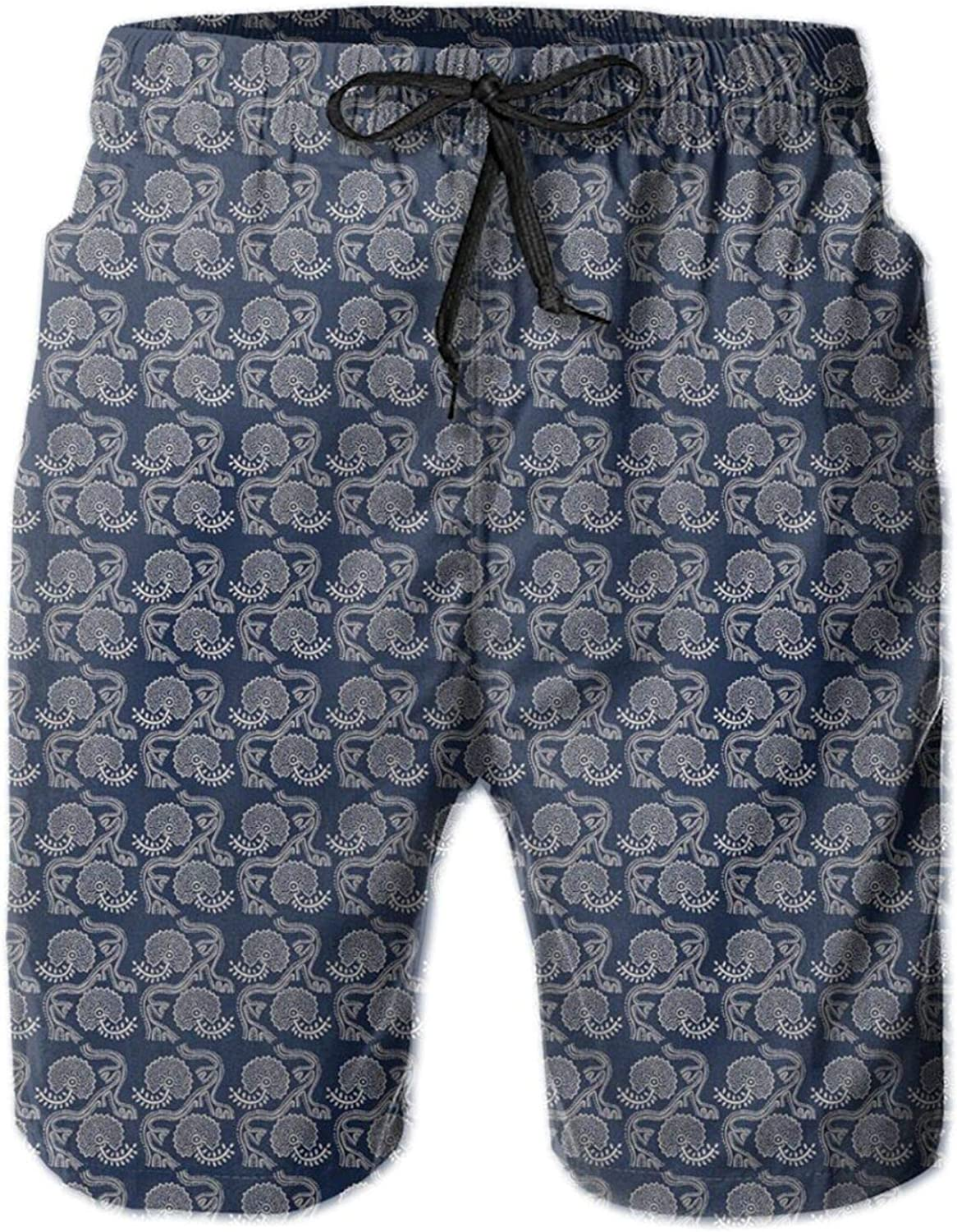 Floral Dotted Artwork Pattern with Ethnic Russian Spring Blooms Mens Swim Trucks Shorts with Mesh Lining,M