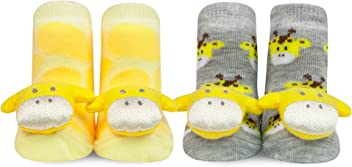 WADDLE Unisex Newborn Baby Giraffe Safari Rattle Socks Yellow Gray Chenille Socks 0-12M