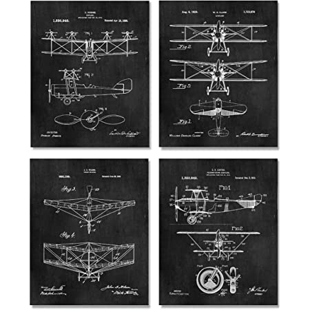 """4 Wright Brothers Patent Print 8/""""x10/"""" Gift for Aviation Lovers Airplane Wall Art"""