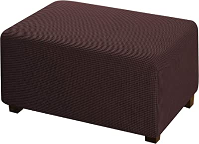 Large Brown Ottoman Slipcover Jacquard Polyester Stretch Fabric Rectangle Folding Storage Stool Ottoman Cover Furniture Protector for Living Room